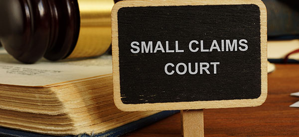 The small claims court handles small claims for money below $15,000.